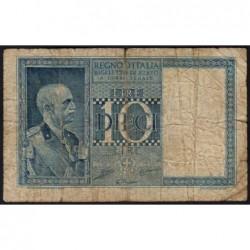 Italie - Pick 25b - 10 lire - 1938 - An XVII - Etat : B+