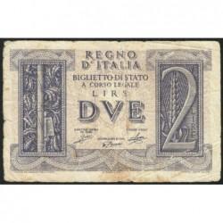 Italie - Pick 27 - 2 lire - 1939 - An XVIII - Etat : TB