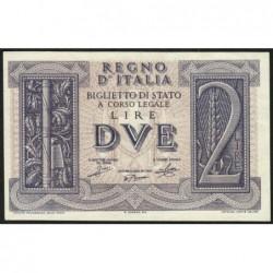 Italie - Pick 27 - 2 lire - 1939 - An XVIII - Etat : NEUF