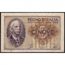 Italie - Pick 28_1 - 5 lire - 1940 - An XVIII - Etat : TB+