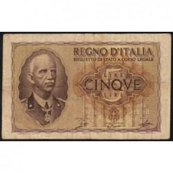 Italie - Pick 28_1 - 5 lire - 1940 - An XVIII - Etat : TB