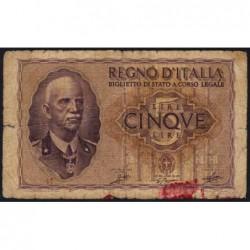 Italie - Pick 28_1 - 5 lire - 1940 - An XVIII - Etat : B+