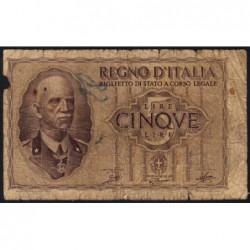 Italie - Pick 28_1 - 5 lire - 1940 - An XVIII - Etat : B