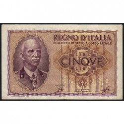 Italie - Pick 28_1 - 5 lire - 1940 - An XVIII - Etat : TTB