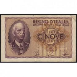 Italie - Pick 28_1 - 5 lire - 1940 - An XVIII - Etat : TTB-