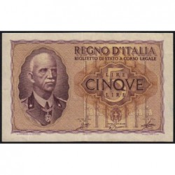 Italie - Pick 28_1 - 5 lire - 1940 - An XVIII - Etat : TTB+