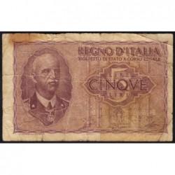 Italie - Pick 28_2 - 5 lire - 1944 - An XXII - Etat : TB-