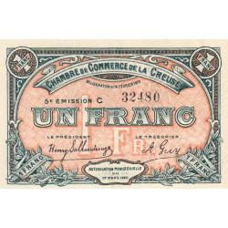 Gueret (Creuse) - Pirot 64-20 - 1 franc - Série C - 5e émission - 14/02/1920 - Etat : NEUF