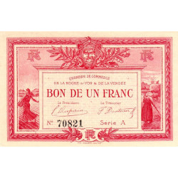 La Roche-sur-Yon (Vendée) - Pirot 65-5 - 1 franc - Série A - 1915 - Etat : SPL+