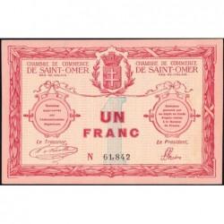 Saint-Omer - Pirot 115-4av (variété) - 1 franc - 14/08/1914 - N° avec 5 chiffres - Etat : pr.NEUF