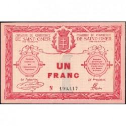 Saint-Omer - Pirot 115-4b - 1 franc - 14/08/1914 - N° avec 6 chiffres - Etat : SPL+
