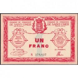 Saint-Omer - Pirot 115-4b - 1 franc - 14/08/1914 - N° avec 6 chiffres - Etat : SUP+