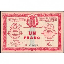 Saint-Omer - Pirot 115-4b - 1 franc - N° avec 6 chiffres - 14/08/1914 - Etat : SUP+