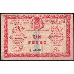 Saint-Omer - Pirot 115-4b - 1 franc - N° avec 6 chiffres - 14/08/1914 - Etat : TB-