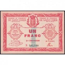 Saint-Omer - Pirot 115-10 - 1 franc - 14/08/1914 - 5me émission - Etat : SPL