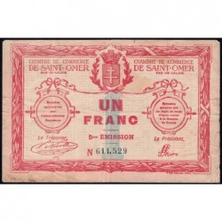 Saint-Omer - Pirot 115-10 - 1 franc - 14/08/1914 - 5me émission - Etat : TB-