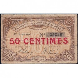 Sens - Pirot 118-2b - 50 centimes - 07/03/1916 - Etat : TB-