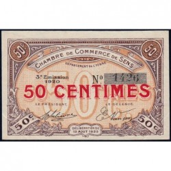 Sens - Pirot 118-10 - 50 centimes - 12/08/1920 - Etat : SUP+