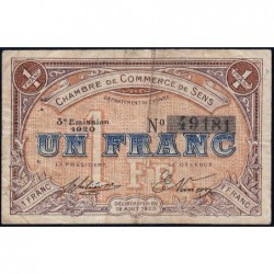 Sens - Pirot 118-12 - 1 franc - 12/08/1920 - Etat : TB