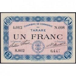 Tarare - Pirot 119-1 - 1 franc - Série N.098 - Sans date - Etat : NEUF
