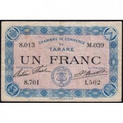 Tarare - Pirot 119-8 - 1 franc - Série M.039 - Sans date - Etat : TB