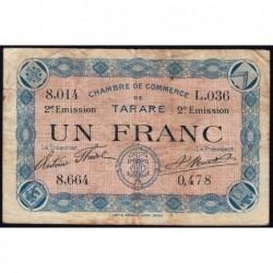 Tarare - Pirot 119-24 - 1 franc - Série L.036 - 21/04/1917 - Etat : TB