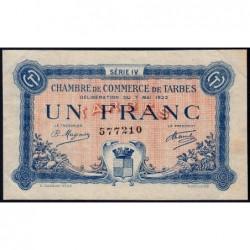 Tarbes - Pirot 120-25 - Série IV - 1 franc - 07/05/1922 - Etat : TTB+