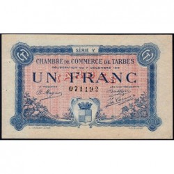 Tarbes - Pirot 120-22 variété - Série V - 1 franc - 07/12/1919 - Etat : SUP+