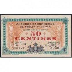 Toulon - Pirot 121-1 - 50 centimes - Série 307 - 19/06/1916 - Etat : SPL