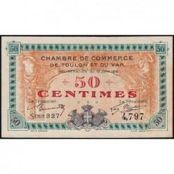 Toulon - Pirot 121-1 - 50 centimes - Série 327 - 19/06/1916 - Etat : SPL