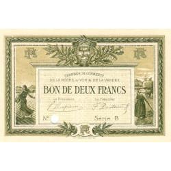 La Roche-sur-Yon (Vendée) - Pirot 65-22 - 2 francs - Série B - 1915 - Spécimen - Etat : SUP+