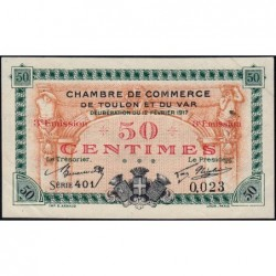 Toulon - Pirot 121-10 - 50 centimes - 3e émission - Série 401 - 12/02/1917 - Petit numéro - Etat : SUP+