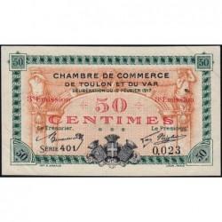 Toulon - Pirot 121-10 - 50 centimes - Série 401 - 12/02/1917 - Petit numéro - Etat : SUP+
