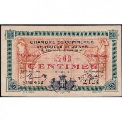 Toulon - Pirot 121-10 - 50 centimes - 3e émission - Série 412 - 12/02/1917 - Etat : SUP