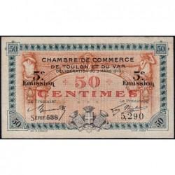Toulon - Pirot 121-26 - 50 centimes - 5e émission - Série 538 - 03/03/1919 - Etat : TTB
