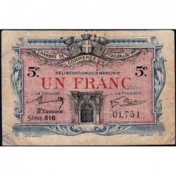Toulon - Pirot 121-27 - 1 franc - 5e émission - Série 316 - 03/03/1919 - Etat : B+