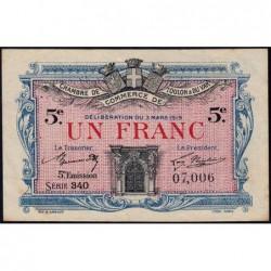 Toulon - Pirot 121-27 - 1 franc - 5e émission - Série 340 - 03/03/1919 - Etat : SUP