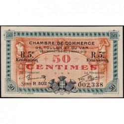 Toulon - Pirot 121-28 - 50 centimes - 5e émission - Série R 502 - 03/03/1919 - Etat : SUP+
