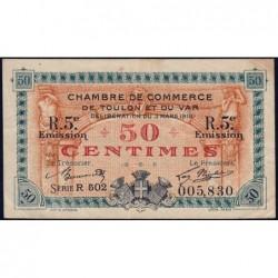 Toulon - Pirot 121-28 - 50 centimes - Série R 502 - 03/03/1919 - Etat : TTB