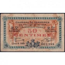 Toulon - Pirot 121-28 - 50 centimes - 5e émission - Série R 526 - 03/03/1919 - Etat : TB