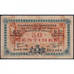 Toulon - Pirot 121-28 - 50 centimes - Série R 526 - 03/03/1919 - Etat : TB