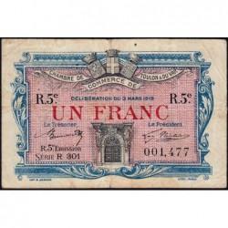 Toulon - Pirot 121-29 - 1 franc - 5e émission - Série R 301 - 03/03/1919 - Etat : TB