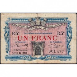 Toulon - Pirot 121-29 - 1 franc - Série R 301 - 03/03/1919 - Etat : TB