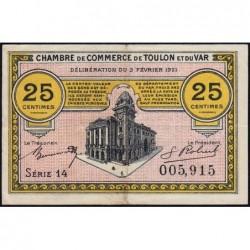 Toulon - Pirot 121-32 - 25 centimes - Série 14 - 03/02/1921 - Etat : TTB+