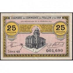 Toulon - Pirot 121-32 - 25 centimes - Série 43 - 03/02/1921 - Etat : TTB+