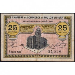 Toulon - Pirot 121-33 - 25 centimes - Série 90 - 25/08/1921 - Etat : TB+