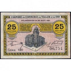 Toulon - Pirot 121-33 - 25 centimes - Série 120 - 25/08/1921 - Etat : TTB