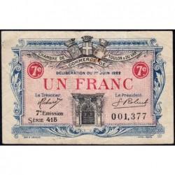 Toulon - Pirot 121-36 - 1 franc - 7e émission - Série 415 - 03/06/1922 - Etat : TB