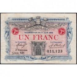 Toulon - Pirot 121-36 - 1 franc - 7e émission - Série 421 - 03/06/1922 - Etat : TB+