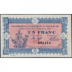 Toulouse - Pirot 122-14 variété - Série 2 - 1 franc - 06/11/1914 - Etat : TTB+